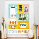 Kitchen Happiness art print, mid ce..